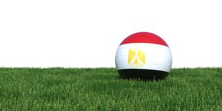 Egypt Egyptian flag soccer ball lying in grass world cup 2018. Isolated on white background. 3D Rendering, Illustration Royalty Free Stock Photography