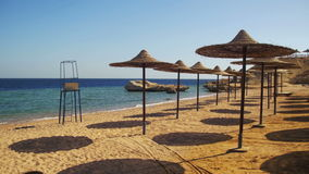 Egypt, Empty Sunny Beach with Umbrellas, Sun Beds on the Red Sea. The coastal resort line, where people relax and sunbathe. Empty sunny beach in Egypt, no stock footage