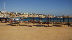 Egypt, Empty Sunny Beach with Umbrellas, Sun Beds on the Red Sea. EGYPT, SOUTH SINAI, SHARM EL SHEIKH, DECEMBER 8, 2016: Egypt, Empty Sunny Beach with Umbrellas stock footage