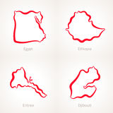 Egypt, Ethiopia, Eritrea and Djibouti - Outline Map. Outline map of Egypt, Ethiopia, Eritrea and Djibouti marked with red line Royalty Free Stock Photography