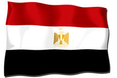Egypt Flag. Flag of Egypt waving in the wind - clipping path included Royalty Free Illustration