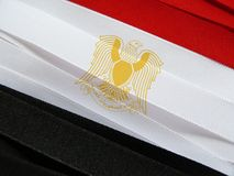 Egypt flag or banner. Made with red, white and black ribbons stock photos