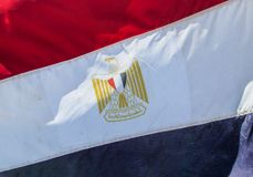 Egypt flag close up. At the flagpole royalty free stock image