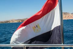 Egypt flag close up. At the flagpole stock images
