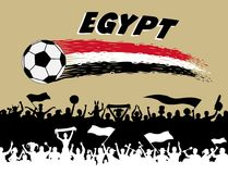 Egypt flag colors with soccer ball and Egyptian supporters silho. Uettes. All the objects, brush strokes and silhouettes are in different layers and the text Royalty Free Stock Images