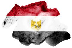 Egypt flag is depicted in liquid watercolor style isolated on white background. Careless paint shading with image of national flag. Independence Day banner royalty free stock photo