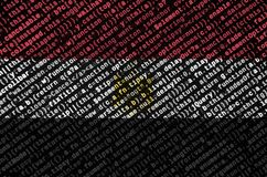 Egypt flag is depicted on the screen with the program code. The concept of modern technology and site development.  vector illustration