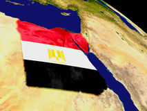 Egypt with flag on Earth Stock Photo