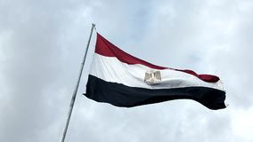 Egypt flag with fabric structure against a cloudy sky stock video footage