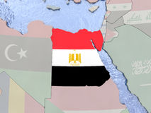 Egypt with flag on globe Stock Images