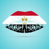 Egypt Flag Lipstick On The Lips Isolated On A White Background. Vector Illustration. Royalty Free Stock Photo