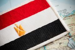 Egypt flag on map. View of the Egypt flag on map stock photography