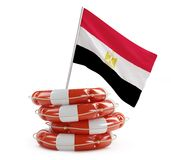 Egypt flag in rescue circle, lifebuoy, life buoy 3d Illustrations Stock Photos