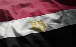 Egypt Flag Rumpled Close Up.  stock images