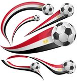 Egypt flag set with soccer ball. Isolated on white Royalty Free Stock Photo
