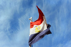 The Egypt flag on sky background Royalty Free Stock Image