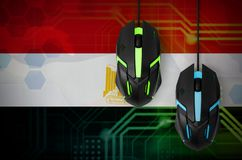 Egypt flag and two mice with backlight. Online cooperative games. Cyber sport team. Egypt flag and two modern computer mice with backlight. The concept of online royalty free stock photography