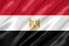Egypt Flag. With waving on satin texture stock illustration