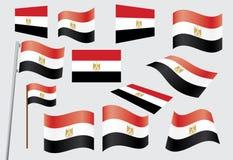 egypt flagga royaltyfri illustrationer