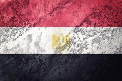 egypt flaggagrunge Egyptisk flagga med grungetextur vektor illustrationer