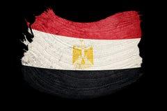 egypt flaggagrunge Egyptisk flagga med grungetextur Borstestro vektor illustrationer