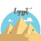Egypt flat design pyramids. Desert famous ancient camel palms. With lettering Stock Photography