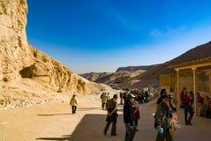 egypt görar till kung dalen Februari 18, 2017: Vila för turister Royaltyfri Fotografi