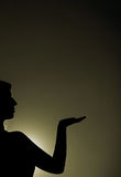 Egypt girl. Silhouette with sun behind Royalty Free Stock Photos
