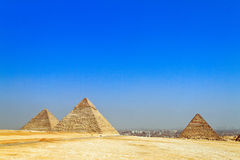 Egypt, Giza, Cheops and Chephrenpyramide Stock Photos
