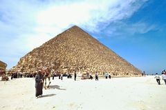 Egypt, giza, cheops pyramid. Highlight of a trip to egypt is the great pyramid of giza Royalty Free Stock Photography
