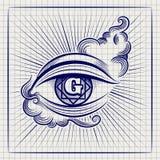 Egypt God eye ball pen sketch Stock Images