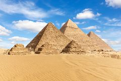 Egypt, the Great Pyramids of Giza view.  stock image