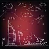 egypt Hand dragen lopp- och turismbakgrund vektor illustrationer