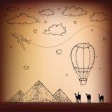 egypt Hand dragen lopp- och turismbakgrund stock illustrationer