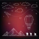 Egypt Hand gezeichneter Reise- und Tourismushintergrund Stockbild