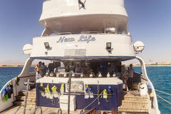 Egypt.Hurgada October 6, 2016. A pleasure yacht with tourists Royalty Free Stock Photos