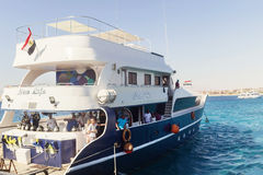 Egypt.Hurgada October 6, 2016. A pleasure yacht with tourists Stock Images