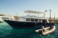 Egypt.Hurgada October 6, 2016. A pleasure yacht with tourists Stock Photography