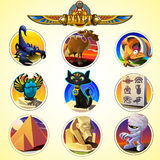 Egypt icons and design elements. Collection of ancient Egypt icons Royalty Free Stock Photos
