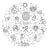 Egypt icons and design elements isolated. Set of vector flat design Egypt travel icons and infographics elements with landmarks and famous Egyptian symbols Royalty Free Stock Image