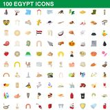 100 egypt icons set, cartoon style. 100 egypt icons set in cartoon style for any design illustration vector illustration