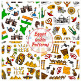 Egypt and India culture patterns Stock Photos