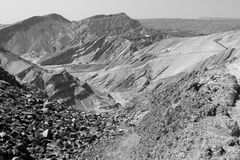 Egypt Israel border boundary fence desert mountains near Eilat c Stock Image