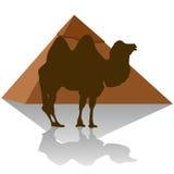 egypt Kamel och pyramid stock illustrationer