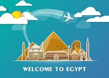 Egypt Landmark Global Travel And Journey paper background. Vecto. R Design Template.used for your advertisement, book, banner, template, travel business or Royalty Free Stock Photo