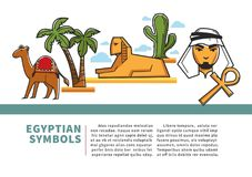 Egypt landmark symbols and sightseeing icons vector poster for travel tourism agency. Egypt travel agency or tourism poster of Egyptian landmark symbols and Royalty Free Stock Image