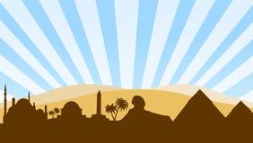 Egypt landmarks travel background stock illustration