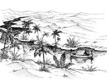 Egypt landscape hand drawing. Boat on Nile river Stock Images