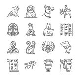 Egypt line icon set. Included the icons as Pharaoh, pyramid, mummy, Anubis, Camel and more. Stock Photography
