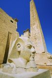 Egypt  luxor. Egypt, Luxor, East Bank, Luxor temple, low angle view of Rameses II with obelisk Stock Image